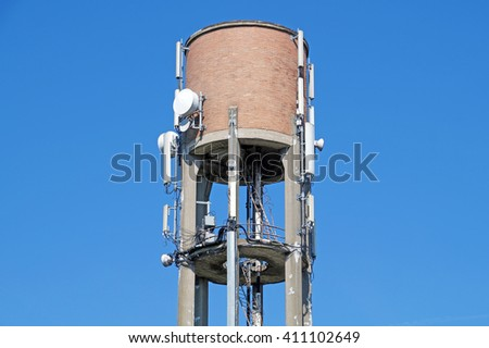 water tower with antennas