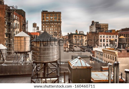 Water towers in Midtown Manhattan in New York.  - stock photo