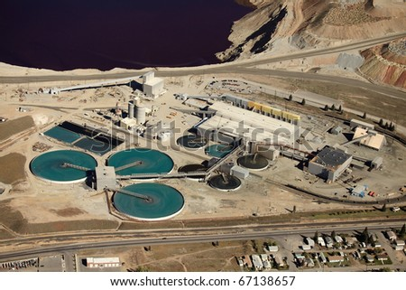 Water treatment facility at an industrial plant. - stock photo