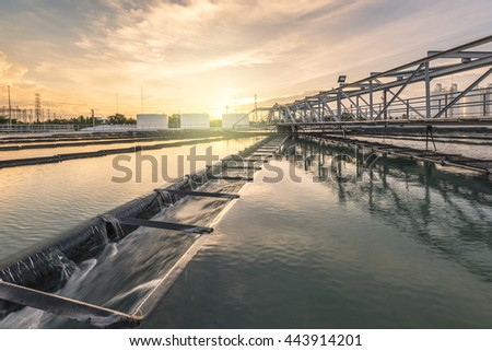 Water Treatment Plant at sunset - stock photo
