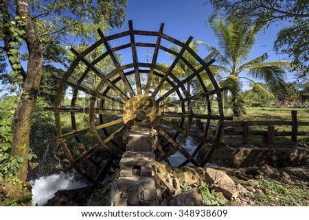 water turbine to generate electricity from energy, water - stock photo