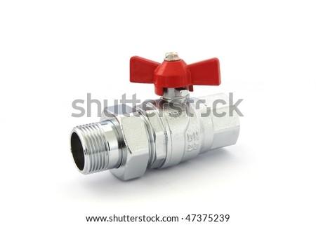 Water valve isolated on white - stock photo