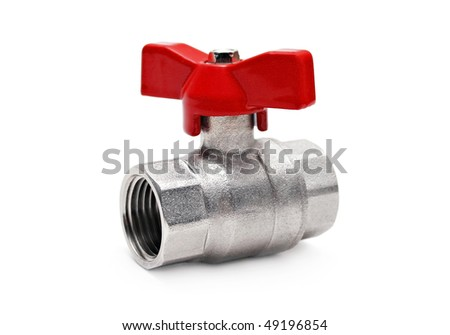 Water valve isolated on white - stock photo