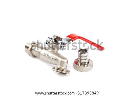 Water valve isolated on white background. - stock photo