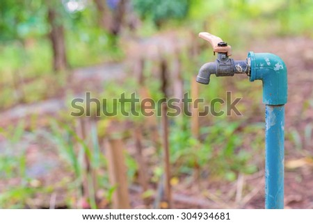 water valve or old faucet in the garden. - stock photo
