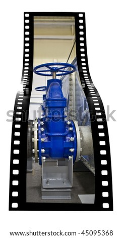 Water Valves and tanks film strip - stock photo