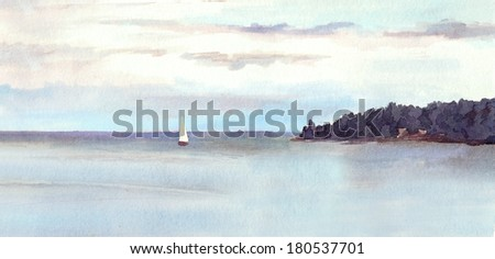 Water view landscape - lake or sea, island, sky with clouds and white sail. Watercolor painted drawing. - stock photo