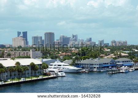 Water view of Downtown Fort Lauderdale, Florida - stock photo