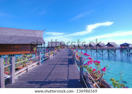 Water Villa and blue sky - stock photo