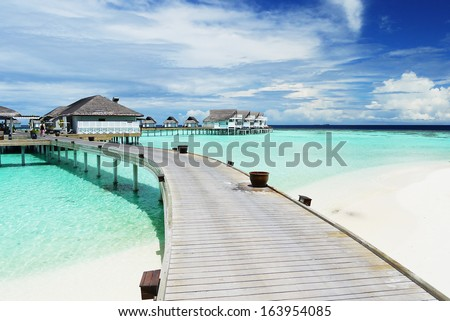 Water Villas (Bungalows) on the Perfect Tropical Island, Maldives