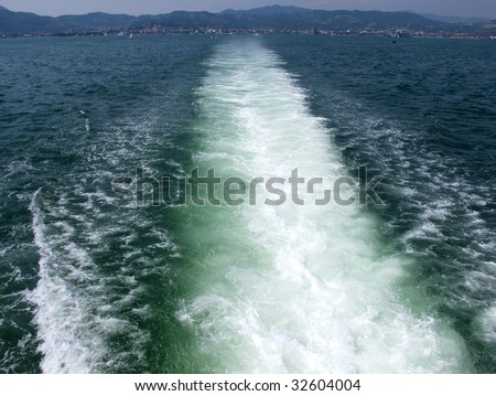 Water wake of boat