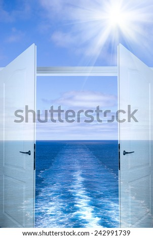 Water wake of cruise liner - stock photo