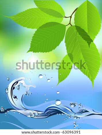 Water Wave and leaves. Raster version of vector illustration. - stock photo