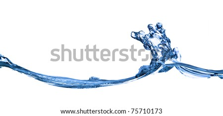 water wave close up shot on white background