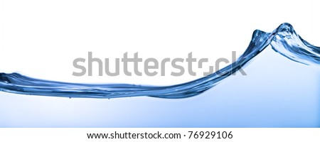 water wave close up shot on white background - stock photo