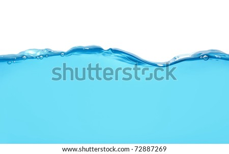 Water wave isolated over white - stock photo