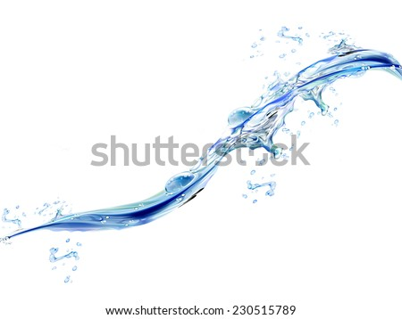 Water wave on the white background - stock photo