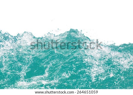 water wave on white background - stock photo