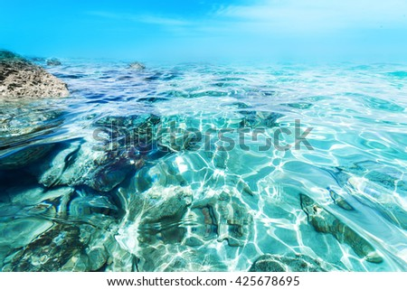 Water wave splash background / Underwater view of the sea surface with copy space