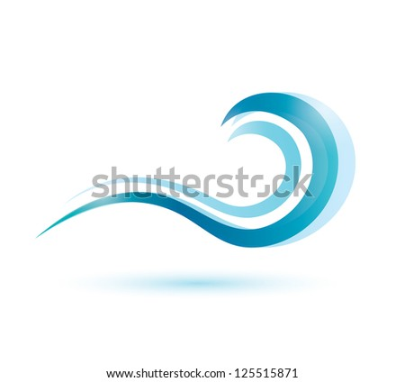 water wave symbol, isolated icon. raster version - stock photo