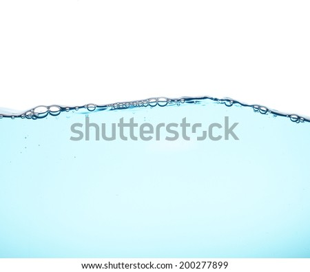 Water wave with air bubbles in white background  - stock photo