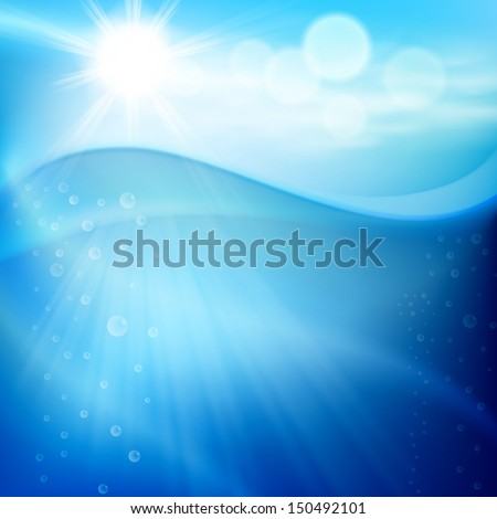 Water wave with bubbles in sunny day. Raster version. - stock photo