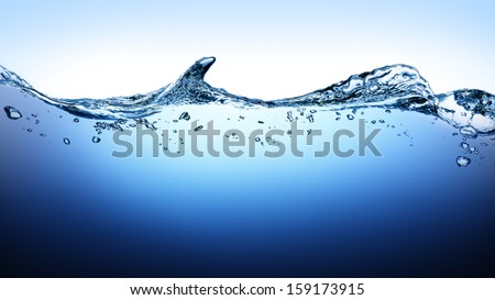 Water wave with bubbles in the deep - stock photo