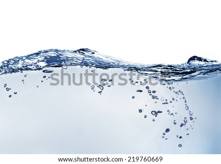 water waves and bubbles - stock photo