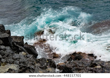 Water, waves and rocks - stock photo