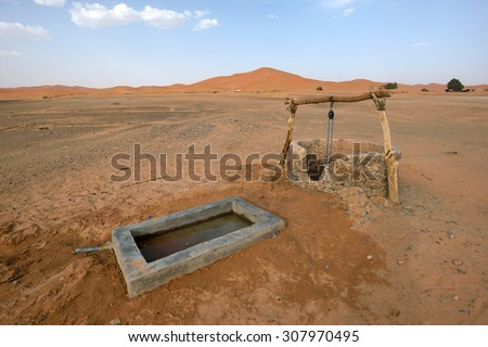 Water well in Sahara Desert, Morocco, North Africa - stock photo