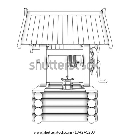 Water Well realistic. isolated white background. 3d