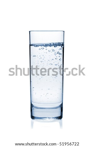 Water with bubbles in glass. Isolated on white background - stock photo