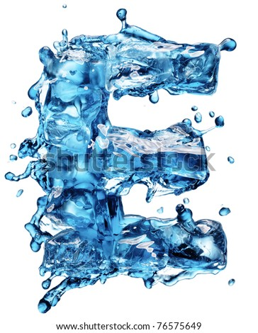 water with ice alphabet isolated on white - stock photo