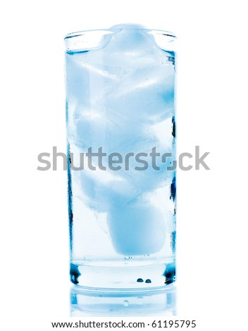 Water with ice isolated over white