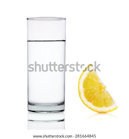 water with lemon isolated on white background.