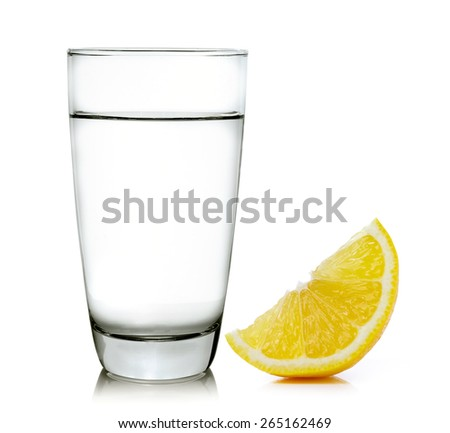 water with lemon on a white background