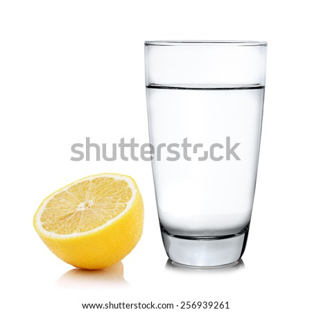 water with lemon on white background - stock photo