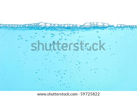 Water with many bubbles isolated on white - stock photo