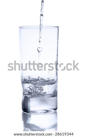 Water with pouring water, isolated on white