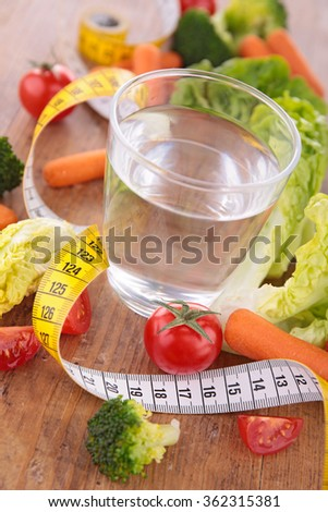 water with vegetable and meter tape