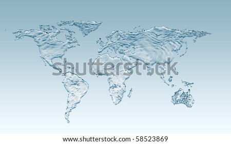 Water world with clip path - stock photo