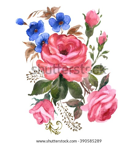 Watercolor a bouquet of flowers - stock photo