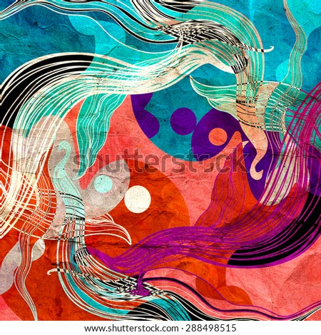 watercolor a retro background of abstract elements - stock photo