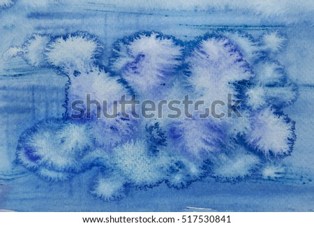 Watercolor abstract background. Blue . Hand painted watercolor background close up.  Abstract painting. Watercolor wash. Watercolor Wet Background.