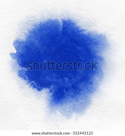 Watercolor. Abstract blue spot on watercolor paper. Ink drop. Beautiful watercolor design elements. Grunge banner watercolor background. - stock photo