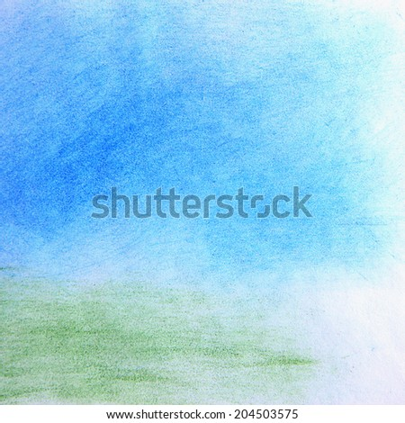 watercolor abstract landscape background - stock photo