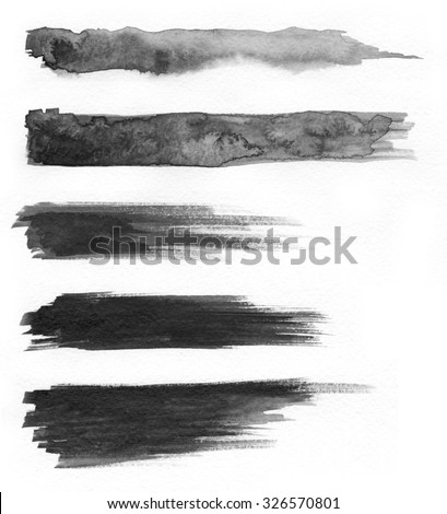 Watercolor. Abstract painted ink strokes set on watercolor paper. Ink drop. - stock photo