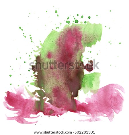 watercolor abstract red green splash. watercolor drop isolated blot for your design