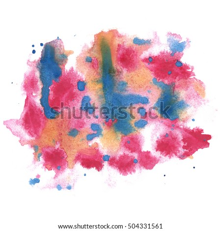 watercolor abstract splash. pink blue watercolor drop isolated blot for your design