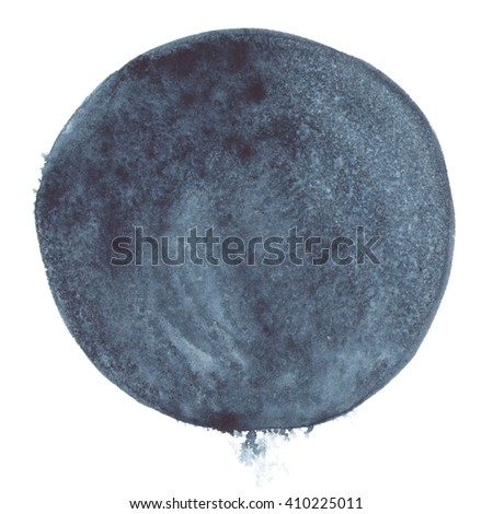 Watercolor abstract stain with splashes isolated on white background. Hand painted circle shape background.  - stock photo